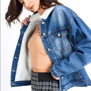 Jackets & Blazers - Fuzzy Medium Wash Denim Jean Jacket